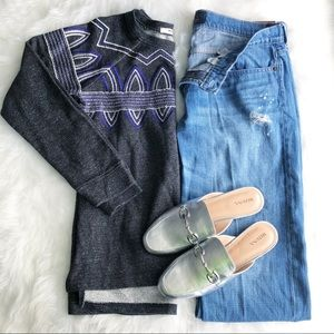 Hinge • Gray Blue Embroidered Sweater